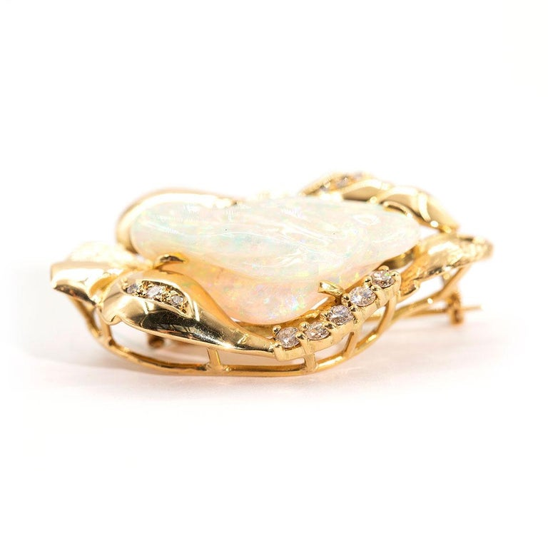 9.6 Carat Solid Australian Carved Opal and Diamond 18 Carat Gold Pendant Brooch For Sale 2