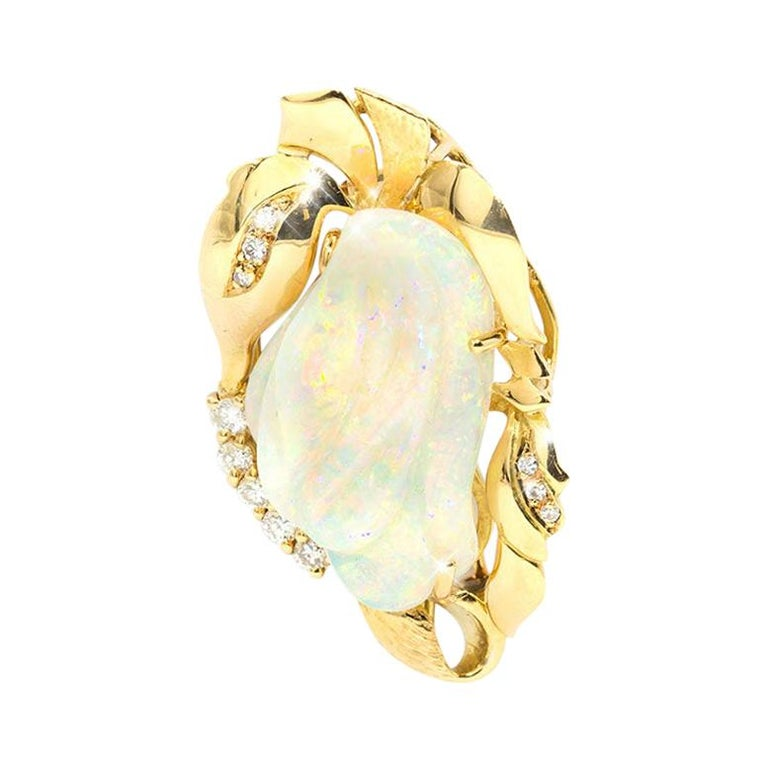 9.6 Carat Solid Australian Carved Opal and Diamond 18 Carat Gold Pendant Brooch For Sale