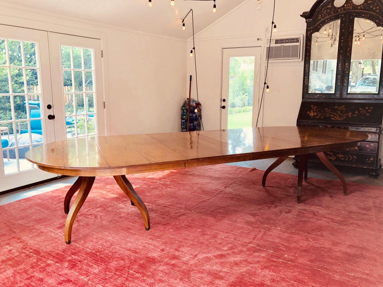 96 inch custom Rose Tarlow Melrose House mahogany dining table with two 24