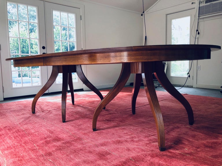 Regency Custom Rose Tarlow Melrose House Mahogany Dining Table With Two Leaves For Sale