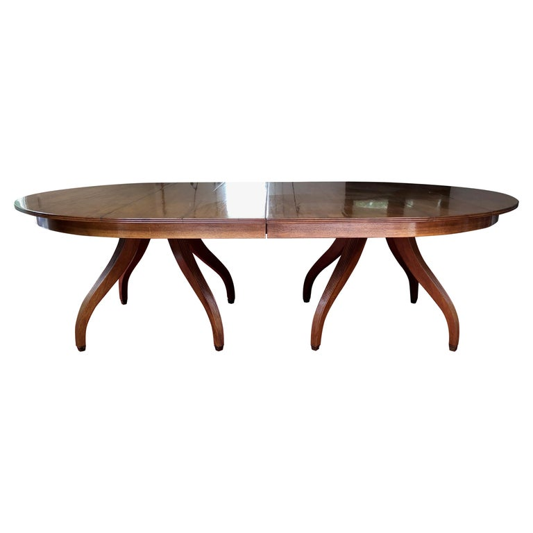 Custom Rose Tarlow Melrose House Mahogany Dining Table With Two Leaves For Sale
