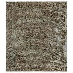 9.6 x 11.0 Vintage Distressed Overdyed Persian Tabriz Rug, 108850