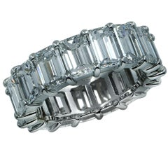 Vivid Diamonds 9.60 Carat Emerald Cut Diamond Platinum Eternity Band