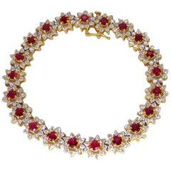 9.60 Carat Natural Bright Vivid Red Ruby Diamonds Clusters Tennis Bracelet