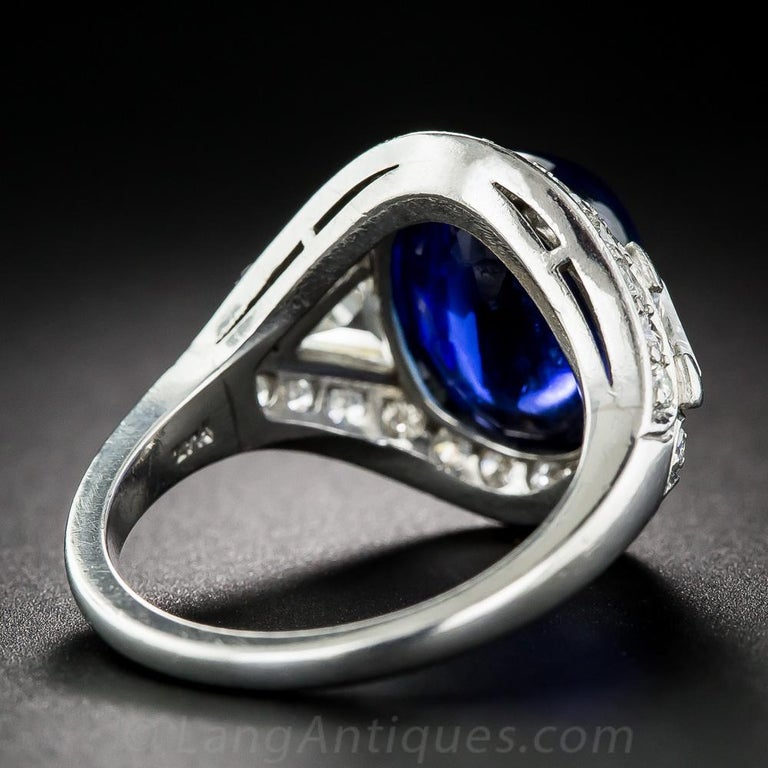 Cabochon 9.60 Carat No-Heat Burma Sapphire and Diamond Ring For Sale