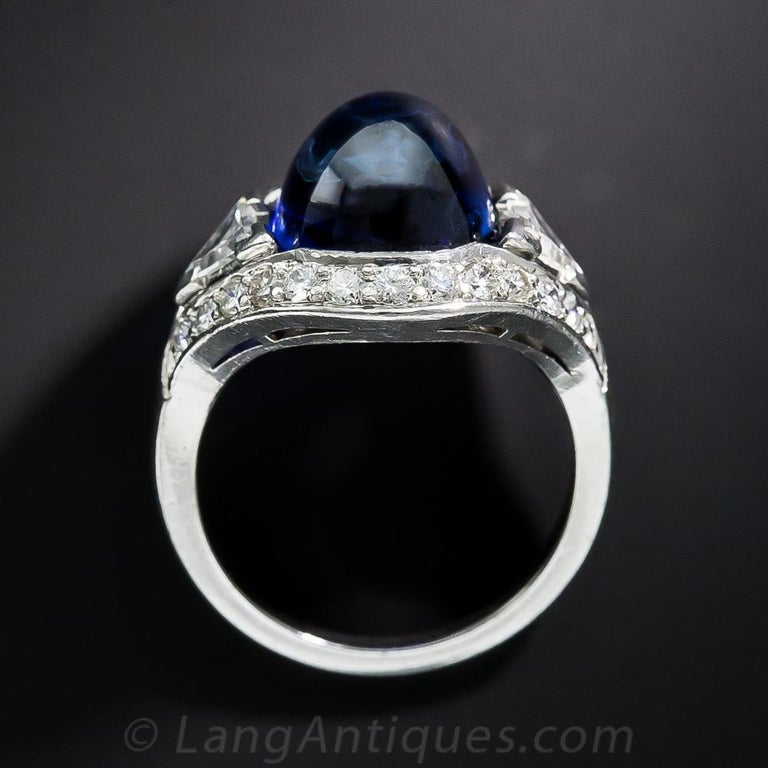 9.60 Carat No-Heat Burma Sapphire and Diamond Ring In Excellent Condition For Sale In San Francisco, CA