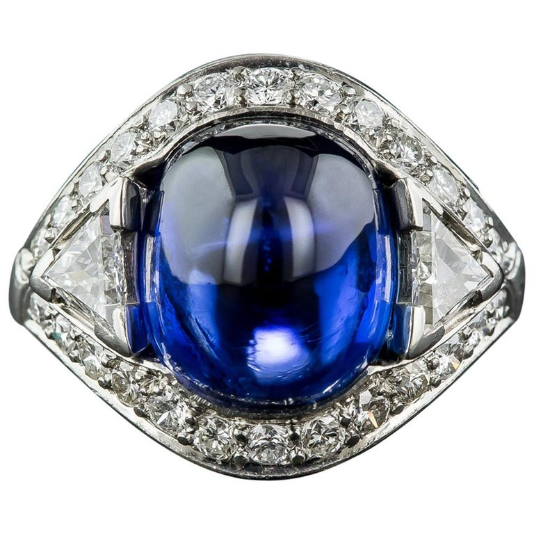 9.60 Carat No-Heat Burma Sapphire and Diamond Ring For Sale
