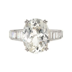 9.60 Carat Oval Light Yellow Sapphire Diamond Platinum Engagement Ring