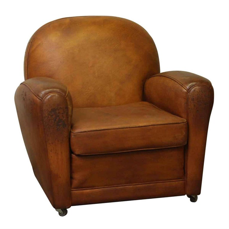 1960s Rolling French Brown Leather Club Chair with Rounded Back