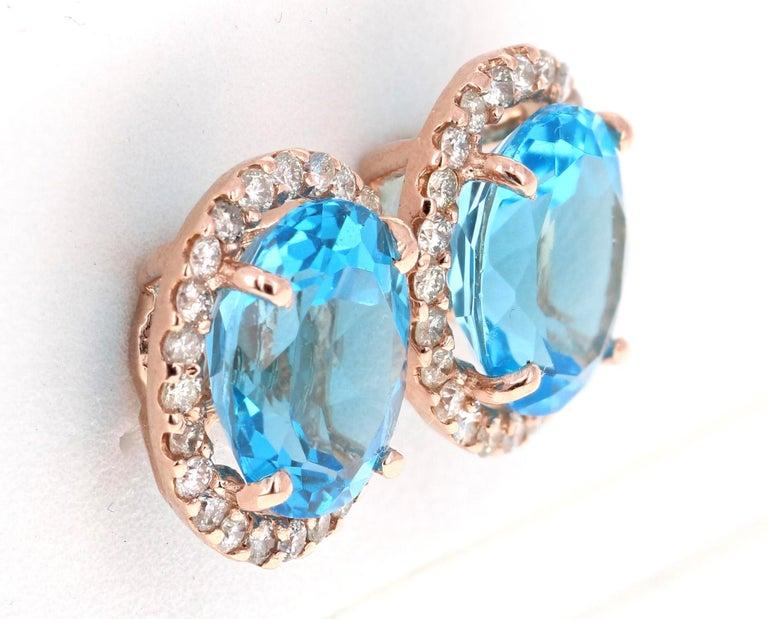 Modern 9.61 Carat Blue Topaz and Diamond 14 Karat Rose Gold Stud Earrings For Sale