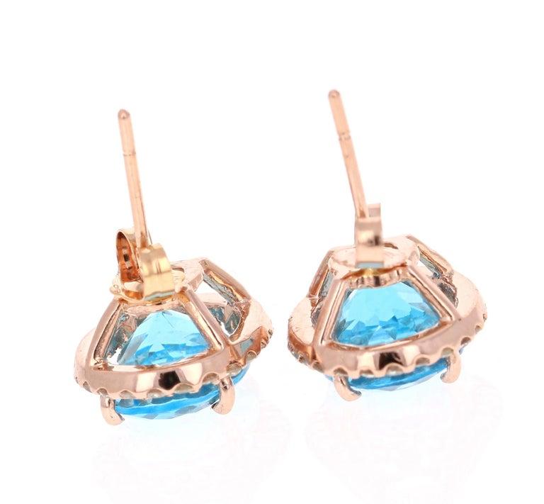 Oval Cut 9.61 Carat Blue Topaz and Diamond 14 Karat Rose Gold Stud Earrings For Sale