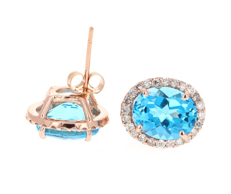 9.61 Carat Blue Topaz and Diamond 14 Karat Rose Gold Stud Earrings In New Condition For Sale In San Dimas, CA