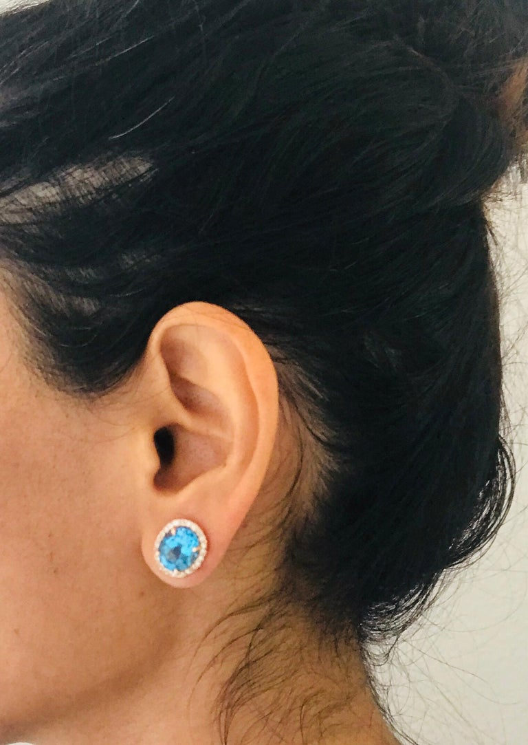 Women's 9.61 Carat Blue Topaz and Diamond 14 Karat Rose Gold Stud Earrings For Sale