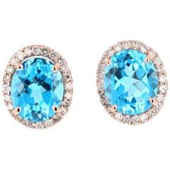 9.61 Carat Blue Topaz and Diamond 14 Karat Rose Gold Stud Earrings