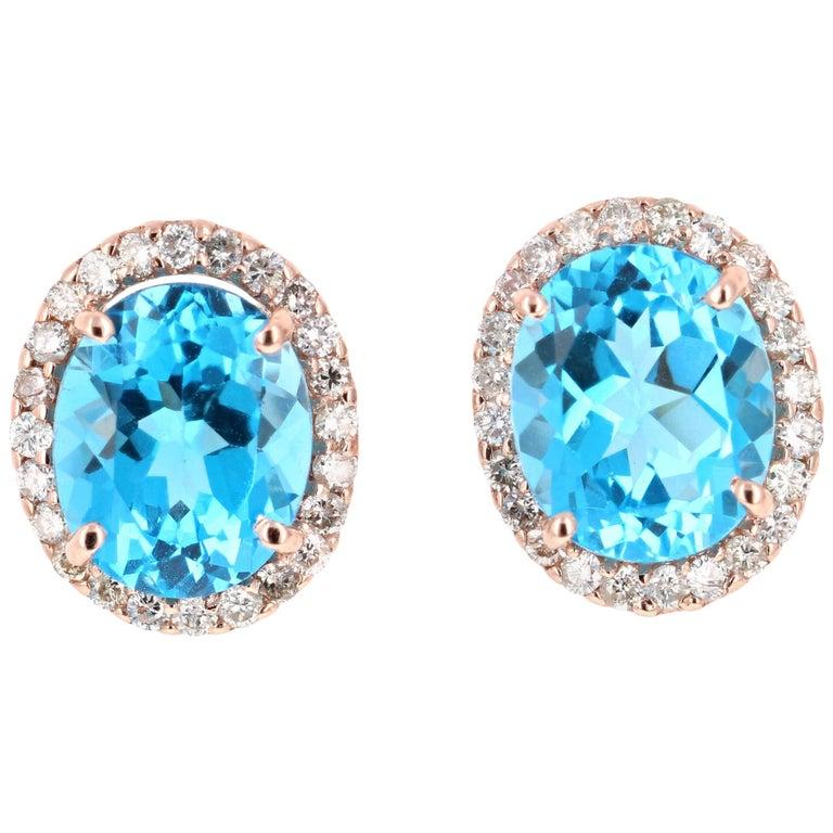 9.61 Carat Blue Topaz and Diamond 14 Karat Rose Gold Stud Earrings For Sale