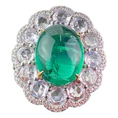 9.61 Carat Cabochon Emerald and Diamond Cocktail Engagement Ring