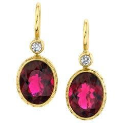 9.62 ct. t.w. Bezel Set Rubellite Tourmaline & Diamond Yellow Gold Drop Earrings