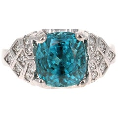 9.62 Carat Blue Zircon Diamond 14 Karat White Gold Ring