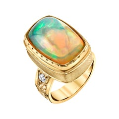 9.62 Carat Cushion Opal, Diamond, Yellow Gold Bezel Dome Band Cocktail Ring