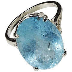 Gemjunky 9.63 Carat Blue, Oval Aquamarine and Sterling Silver Ring
