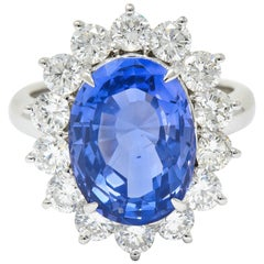 9.63 Carat No Heat Ceylon Sapphire Diamond Platinum Cluster Ring GIA
