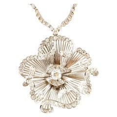 9.63 Carat White Diamonds, 18 Karat White Gold, Flower Shape Pendant Necklace