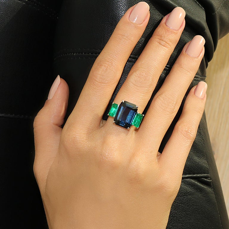Emerald Cut Paolo Costagli 9.64 Carat Blue Spinel and 2.71 Carat Emerald Ring with Diamonds For Sale