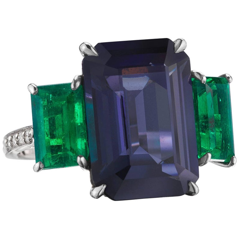 Paolo Costagli 9.64 Carat Blue Spinel and 2.71 Carat Emerald Ring with Diamonds For Sale