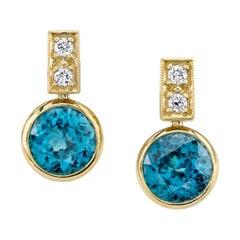9.64 ct. t.w. Round Blue Zircon, Diamond 18k Yellow Bezel Set Post Drop Earrings