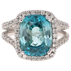 9.64 Carat Blue Zircon Diamond 18 Karat White Gold Ring