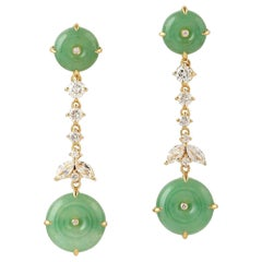 9.64 Carat Jade Diamond 18 Karat Gold Earrings