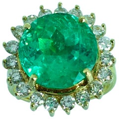 9.65 Carat Fine Round Colombian Emerald Diamond Ring 18 Karat