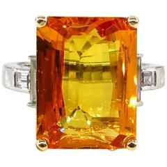 9.66 Carat GIA Natural Yellow-Orange Sapphire and Diamond Platinum Ring