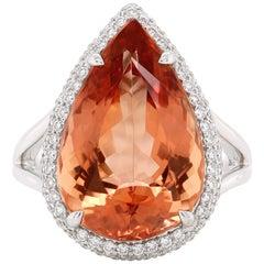 9.66 Carat Imperial Topaz Diamond Solitaire Ring