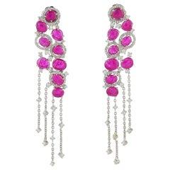 9.66 Carat Ruby 18 Karat Gold Diamond Chandelier Earrings