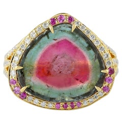 9.67 Carat Tourmaline Diamond 18 Karat Gold Ring
