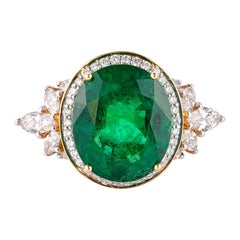 9.67 Carat Zambian Emerald Ring in 18 Karat Yellow Gold with White Diamonds