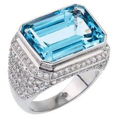 9.68 Carat Emerald Cut Aqua Marine and Diamond Ring