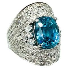 9.68 Carat Natural Blue Zircon Ring