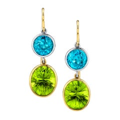 Blue Zircon and Peridot 18k Yellow Gold Dangle Earrings