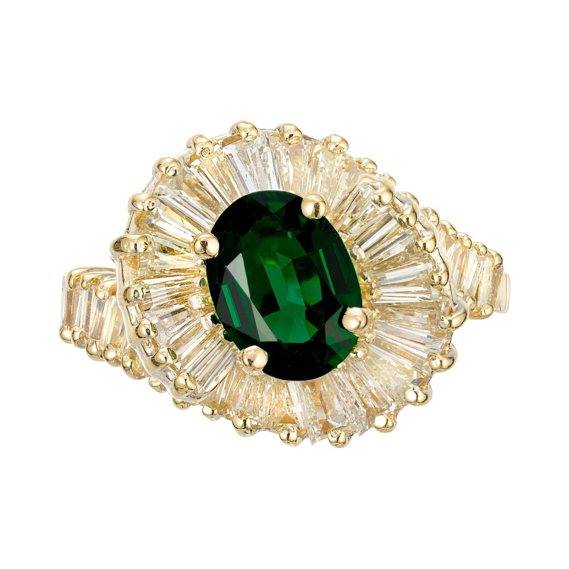 .97 Carat Chrome Tourmaline Diamond Halo Yellow Gold Cocktail Ring