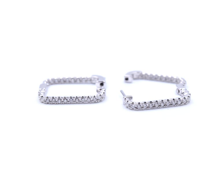 .97 Carat Diamond 14 Karat White Gold Square Diamond Earring Hoops In Excellent Condition For Sale In Scottsdale, AZ
