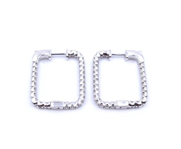 Women's or Men's .97 Carat Diamond 14 Karat White Gold Square Diamond Earring Hoops For Sale