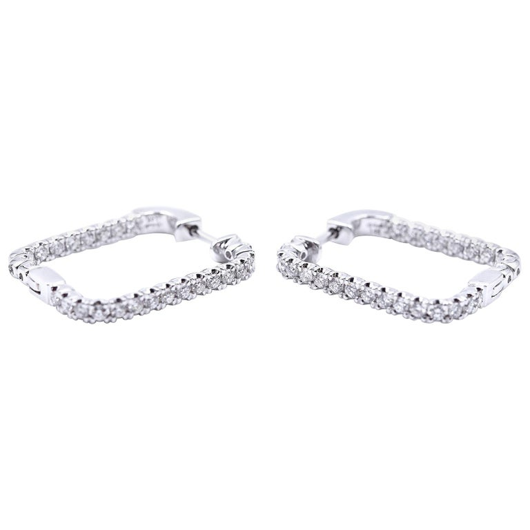 .97 Carat Diamond 14 Karat White Gold Square Diamond Earring Hoops For Sale