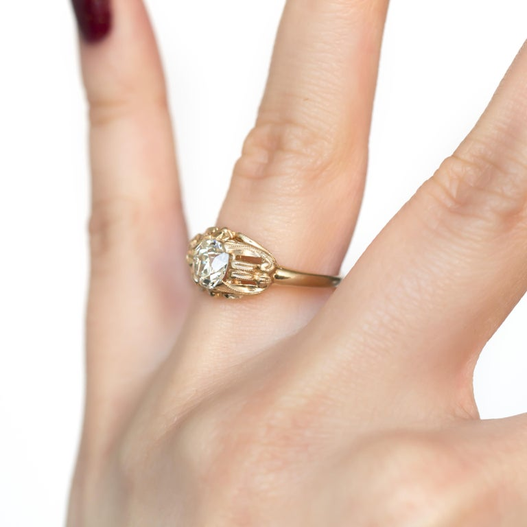 .97 Carat Diamond Yellow Gold Engagement Ring For Sale At
