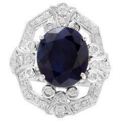 9.70 Carat Exquisite Natural Blue Sapphire and Diamond 14 Karat Solid White Gold