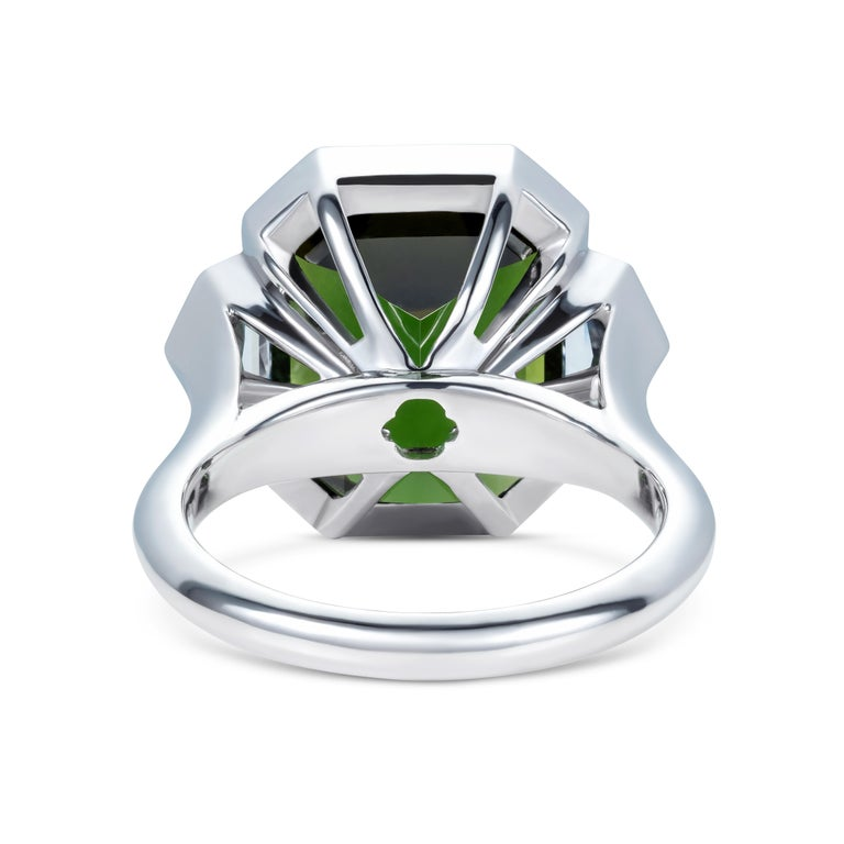Contemporary 9.70 Carat Green Tourmaline and Diamond Three-Stone Ring in 18 Karat White Gold For Sale