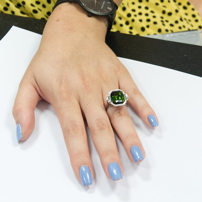 Women's 9.70 Carat Green Tourmaline and Diamond Three-Stone Ring in 18 Karat White Gold For Sale