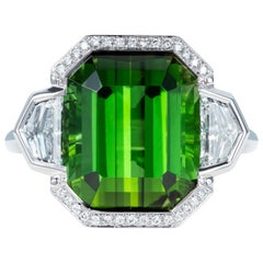 9.70 Carat Green Tourmaline and Diamond Three-Stone Ring in 18 Karat White Gold