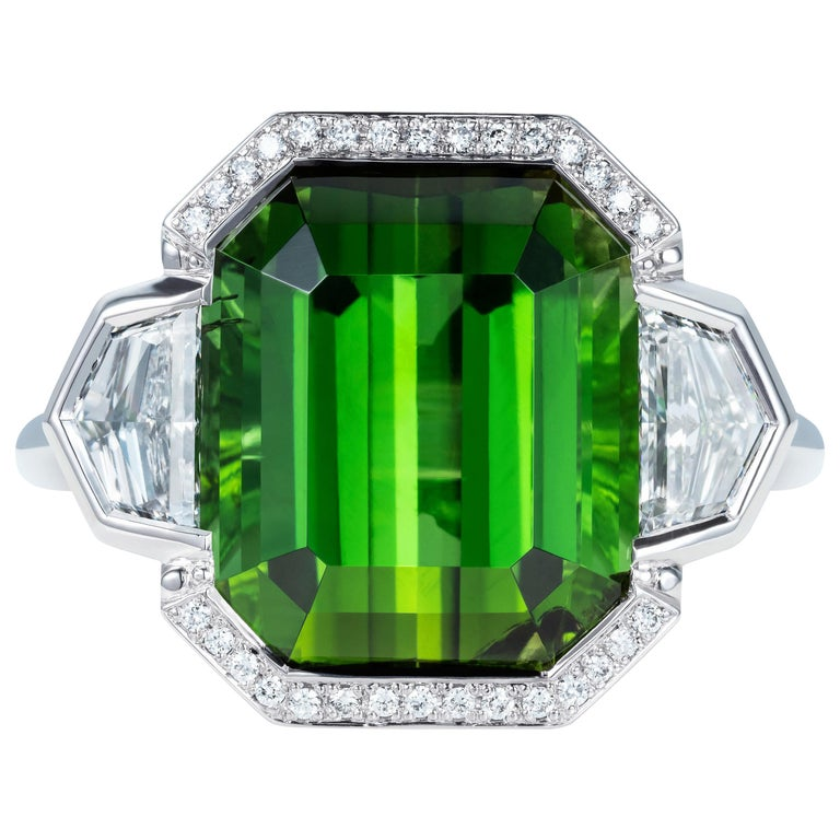 9.70 Carat Green Tourmaline and Diamond Three-Stone Ring in 18 Karat White Gold For Sale